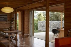 Architecture, Excellent New Zealand Beach House By Herbst Architects Featuring Interior Idea With Hardwood Floor, Wooden Table, Pendant Lamp, Black Chairs And Beam: Fascinating Modern Beach House with Cozy Interior for Summer Holiday New Zealand Adventure, Gabion Wall, Architecture Awards, Architecture Design, Ground Floor Plan, Wooden House, Sustainable Architecture, Auckland, Outdoor Rooms