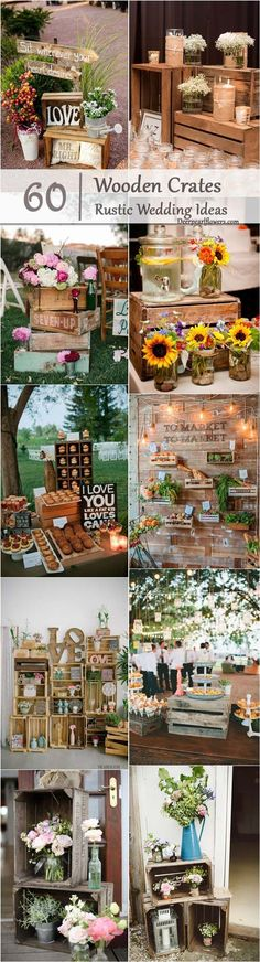 rustic country wedding ideas- wooden crates wedding decor / http://www.deerpearlflowers.com/country-wooden-crates-wedding-ideas/2/
