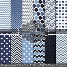 Deep blue polka dot and chevrons paper, Deep blue digital paper, Deep blue pattern, Deep blue  printable paper, Deep blue baby shower paper