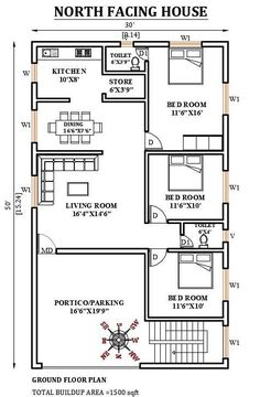 30'x50' north facing house plan is given in this Autocad drawing file. The total built up area of the plan is 1500sqft. 2bhk House Plan, Free House Plans, Model House Plan, Duplex House Plans, House Layout Plans, 40x60 House Plans, Modern House Floor Plans, Simple House Plans, House Floor Design