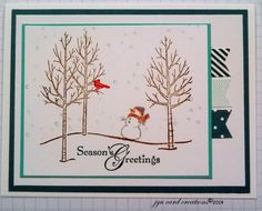 Love this Snowy scene in the White Christmas stamp set by Stampin Up.  Makes creating a super card super easy..