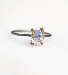 Mixed Metal Herkimer Diamond Ring by Whisperwill on Scoutmob Shoppe