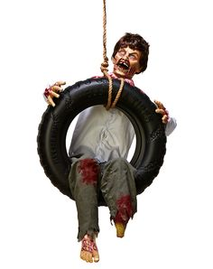 tire swing zombie boy exclusively at spirit halloween this incredibly creepy animated decoration features body - Spirit Halloween Decorations