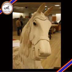 This is Angel Song, one of our hand carved wooden horses that will go on the carousel. Photo by Katy Levesque 2013.
