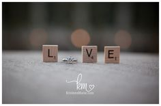 Engagement photography - ring and scrabble pieces