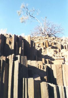 """Twyfelfontein - """"organ pipes"""" from 4500 BC! This artwork was created by the San Nation, who have inhabited Southern Africa for 30,000 years. Often misnamed Damaraland after the 1960s forced migration of Damara people here. But the San Nation is 300 centuries old and still present, it is properly called Kunene Province located amongst 2000 rock carvings a UNESCO World Heritage Site."""