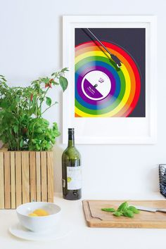 CLICK THE IMAGE to personalise your own rainbow vinyl record from £20. Create your own album with this gay pride flag vinyl print. A custom music poster – you can add your own text to make a unique LGBT gift or add vibrant energy to your own home decor. #GayPride #VinylPrint #LGBTWallArt #HomeDecor #Rainbow