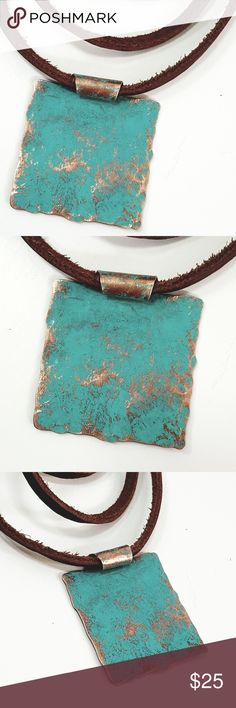 "Rustic Turquoise Patina Copper Pendant Large 2"" x 2"" handcrafted square copper pendant, antiqued turquoise patina finish, protected with renaissance wax for durability. Brown leather lace ties at neckline and can be lengthened or shortened.  PRICE IS FIRM UNLESS BUNDLED  Handcrafted with love by me! croweArt Jewelry Necklaces"