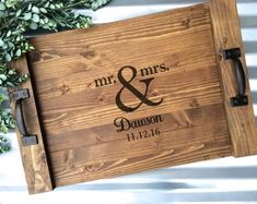 Personalized Serving Tray Custom Laurel Serving by CarolinaCrateCo Serving Tray Wood, Wood Tray, Diy Pallet Projects, Wood Projects, Diy Arts And Crafts, Wood Crafts, Rustic Wedding Gifts, Woodworking Projects, Woodworking Bed