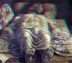 1500 Andrea Mantegna - The Lamentation over the Dead Christ. #8 in popularity on personal 3D art website. Best viewed with red/cyan glasses.