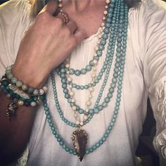 """4 Likes, 2 Comments - Lacey Kramer💍Kinsley Armelle (@lacey_kinsley.armelle) on Instagram: """"TURQUOISE for daaaaaayz!! @kinsleyarmelle Jasper Collection-Khaki Necklace paired with my own…"""""""