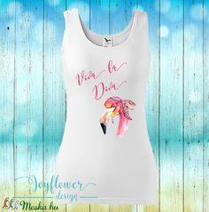 flamingo - divatos fazonú feliratos női trikó vízfesték hatású grafikával gyönyörű nyárias színekben Graphic Tank, Diva, Spandex, Tank Tops, Design, Women, Fashion, Moda, Halter Tops