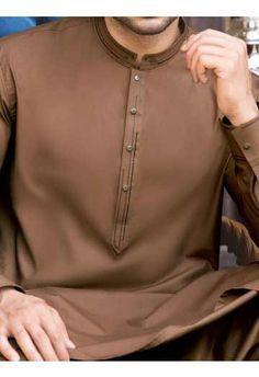 latest brown men eid kurta shalwar kameez and waistcoat dress designs 2017 by Junaid Jamshed