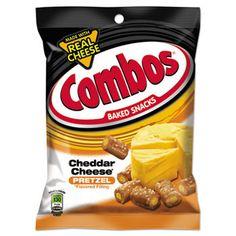 Combos Baked Snacks, 6.3 Oz Bag, Cheddar Cheese Pretzel, 12/carton