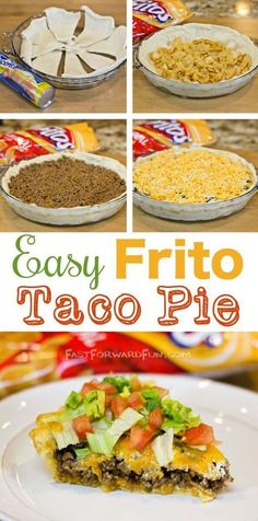 The tastiest and easiest dinner, EVER! Easy Frito Taco Pie (super fun video tuto… The tastiest and easiest dinner, EVER! Easy Frito Taco Pie (super fun video tutorial and step-by-step photos). Healthy Recipes, Mexican Food Recipes, Beef Recipes, Cooking Recipes, Recipies, Fun Recipes, Fast Dinner Recipes, Cooking Games, Cheap Recipes