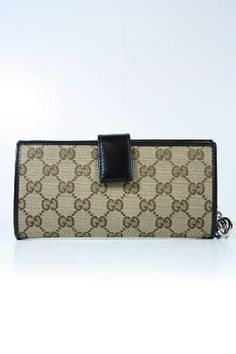 Gucci Wallets Beige Fabric and Black Leather