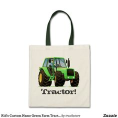 Kid's Custom Name Green Farm Tractor Budget Tote Bag from #TruckStore