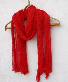 This linen scarf is knitting This knitted lace shawl material is 100% natural linen Scarf is knitting from linen yarn . This Flax light scarf color is red his linen scarf is breathable, and comfortable to wear This knitted wrap will perfect in mid season and summer, Great for travel, weddings, summer dresses, Suitable for women and men Scarf measurments  Scarf lenght is 83 {214 cm} Scarf widht is 24 {62 cm}  Care instrukcion Gentle wash in the washing machine. Can press with warm iron. Linen…