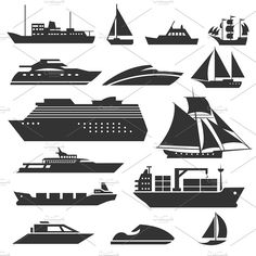 Ships Boats Icons Barge Cruise Ship Stock Vector (Royalty Free) 557972398 - Ships and boats icons. Barge, cruise ship, shipping and fishing boat vector signs. Boat Vector, Fish Vector, Vector Free, Boat Drawing, Ship Drawing, Boat Illustration, Business Illustration, Black Silhouette, Silhouette Vector