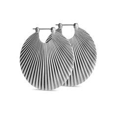 Stor Shell ørering i mat, sterling sølv - Sterling Sølv - Øreringe