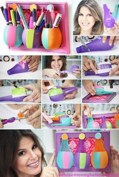 Embalagem plástica (perfume, shampoo, etc) basta cortá-las, caprichar nas cores e fixá-las em uma moldura charmosa... simples assim