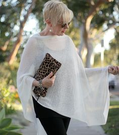 une femme dun certain âge | Ponchos arent just for winter...this one from EILEEN FISHER Inc is lightweight and breathes. Wonderful for warm weather!