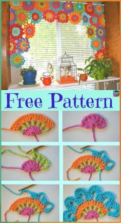 Crochet Pattern For Beginners Beautiful Crochet Flower Power Valance – Free Pattern Crochet Leaves, Crochet Motifs, Crochet Flower Patterns, Crochet Designs, Crochet Flowers, Knitting Patterns, Crochet Puff Flower, Pattern Flower, Diy Flower