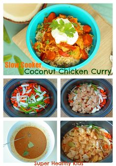 Slow Cooker Coconut Curry Chicken from Super Healthy Kids- This dish will have your kids asking for seconds! #healthycrockpot