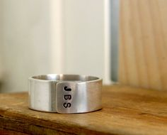 Personalized Initials Sterling Silver Band Ring Mens - but with all three of our names for Fathers day!