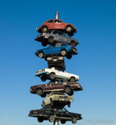 Photographed by Carol Highsmith in August of 2007 as a digital file. Berwyn Car Spindle,åÊwas a sculpture created in 1989 by artist Dustin Shuler. It consisted of a 50 foot spike with eight cars impal
