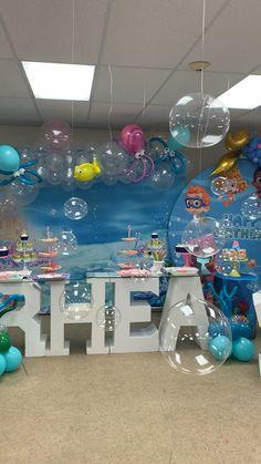Bubble Birthday Parties, Baby Boy 1st Birthday Party, Bubble Party, Frozen Birthday, Geek Birthday, Baptism Party, Birthday Ideas, Shark Party Decorations, Birthday Party Decorations