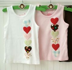 Instagram. Picture only for inspiration. T-shirts embellished with applique hearts