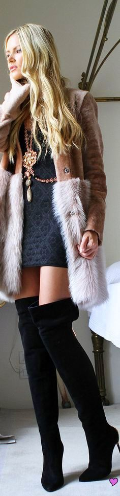 Swede thigh high boots