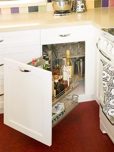 Drawers and Pullouts  Swing-Out Storage  Corner cabinets are notorious for wasting storage space due to inaccessibility. Swing-out storage solves that problem by bringing contents to the cook.