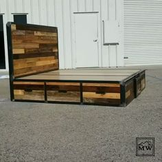 Reclaimed Wood Industrial Storage Bed - Industrial Furniture - This Cal-King size reclaimed wood + steel Industrial Design platform bed has 6 large storage drawer - Industrial Bedroom Furniture, Industrial Interior Design, Diy Pallet Furniture, Furniture Projects, Wood Projects, Furniture Vintage, Furniture Storage, Bedding Storage, Industrial Decorating