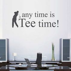Golf Tee Time Vinyl Wall Decal - Personalized Golf Gift - Golf Decor - Golf Wall Decor - Mens Golf G