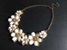 Excited to share this item from my shop: White flowers necklace, crystals necklace, wedding bridal necklace, wedding jewelry, bridal necklace, party jewelry #gold #wedding #white #artdeco #fairytaleprincess #costumejewelry #fairyjewelry
