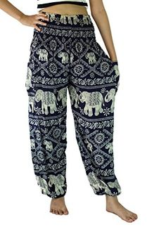 NaLuck Womens Boho Hippie Elephant Rayon Smocked Waist Yoga Harem Pants PJ09Navy2 -- Read more  at the image link. (This is an Amazon affiliate link and I receive a commission for the sales and I receive a commission for the sales)