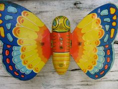 J Chein mechanical butterfly tin litho toy vintage by luckduck