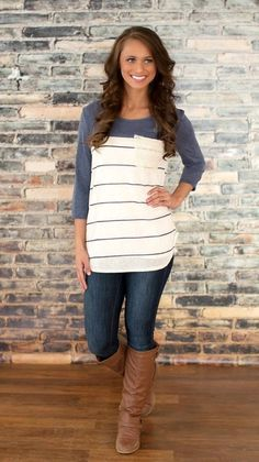 Striped Blouse - Lace Pocket - 3/4 Sleeves - Navy