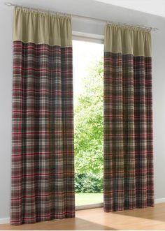 Jetzt anschauen: Blickdichter Vorhang in besonderer Optik, die Uni farbene Kante und das Karo Design im unteren Bereich werden durch eine besondere Naht verziehrt, der Vorhang ist aus Baumwoll-Flanell gefertigt. Maße = Stoffmaße (ca. Höhe/Breite).