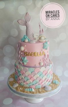 A Mermaid theme cake for Isabella. The design was adapted from different cakes provided by the customer. Also with cupcakes, cake pops and cookies to match the theme. Sirenita Cake, Mermaid Birthday Cakes, Mermaid Birthday Party Ideas, Mermaid Parties, Mermaid Party Decorations, Different Cakes, Party Cakes, Party Party, Themed Cakes