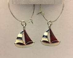 Check out Red white blue Summer Sailboat charm Beaded Earring, drop, dangle, hoop,silver, summer, boat, birthday gift, anniversary, Free Shipping on dawnsbeadsdesigns