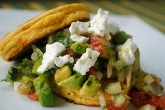 Corn Cakes with Avocado Goat Cheese Salsa