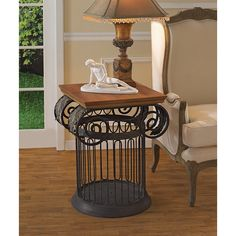 Park Avenue Collection Ionic Metal Column Side Table