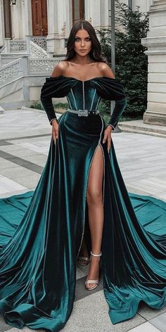 27 Colored Wedding Dresses To Make You A Stylish Bride ❤ colored wedding dresses green with sleeves off the shoulder with train saidmhamad ❤ #weddingdresses #weddingoutfit #bridaloutfit #weddinggown Bridal Outfits, Bridal Gowns, Wedding Gowns, Green Wedding, Wedding Colors, Colored Wedding Dresses, White Bridal, Green Dress, Bride
