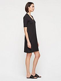 Deep V-Neck Elbow-Sleeve Layering Dress in Organic Cotton Hemp Twist