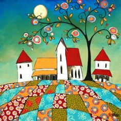 (via Small Town - Acrylic - Glendine - Alice Art Gallery Pop Art, Art Fantaisiste, South African Artists, House Quilts, Inspiration Art, Naive Art, Whimsical Art, Fabric Painting, Art Boards