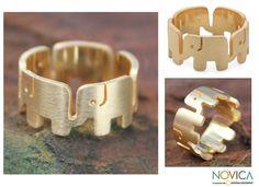 Novica Handmade Overlay 'Elephant Pride' Ring