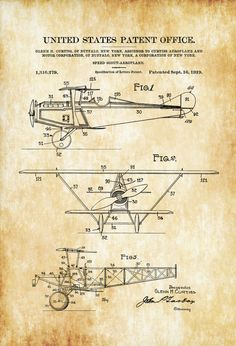 Curtiss Scout Airplane Patent Print - Airplane Blueprint Vintage Aviation Art Airplane Art Pilot Gift Aircraft Decor Airplane Poster by PatentsAsPrints